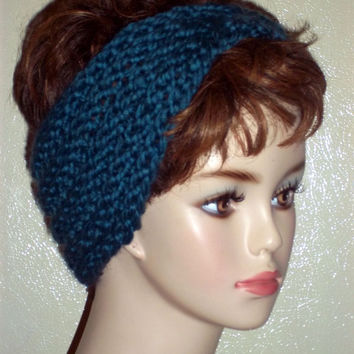 Hand Knit Headband Pretty Blue