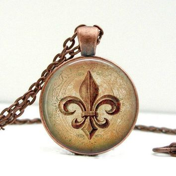 Fleur De Lis Necklace : Copper. Lily Flower. Pendant. Charms. Picture Pendant. Art (1729)