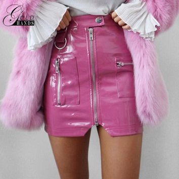 Gold Hands Women Faux Leather Pencil Skirts Pink Button Front Zipper Winter Fashion Sexy Party Skirts Mini High Waist Skirts