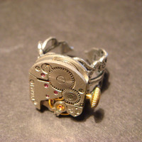 Steampunk Watch Movement Ring with Exposed Gears (604)