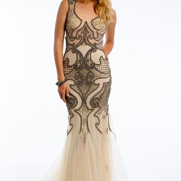 Beaded Scroll Mesh Dress With Keyhole Back