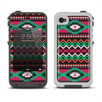 The Vector Green & Pink Aztec Pattern Apple iPhone 4-4s LifeProof Fre Case Skin Set