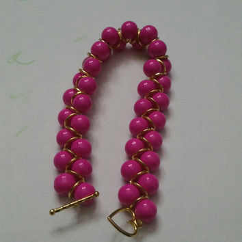 Pink and Gold Beaded Bracelet Breast Cancer Awareness Bracelet Birthday Present Gift Anniversary Graduation Mother's Day Prom