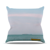 "Ann Barnes ""Castaway"" Teal Coastal Outdoor Throw Pillow"