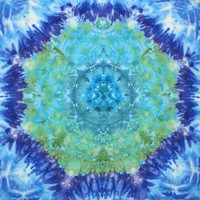 trippy tie dye mandala tapestry wall hanging blue green