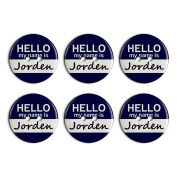 Jorden Hello My Name Is Plastic Resin Button Set of 6