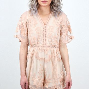 Shimmer All Day Lace Romper {Rose Gold}