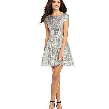 515814a5284e B. Darlin Cap-Sleeve Sequin Skater Dress from Dillard's | never