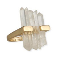 Clear Crystal Bars Gold Ring