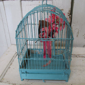 Wood and metal birdcage hand painted distressed  beach cottage blue bird cage pink floral embellishment home decor anita spero design