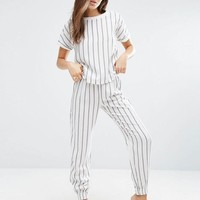 ASOS Classic Stripe Woven Tee & Long Leg Pajama Set at asos.com