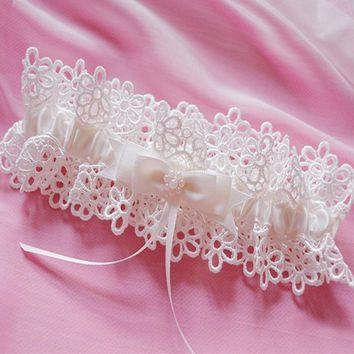 Free Shipping White Women's Sexy Lingerie Garter Lace Belt Legs Ring Harness Wedding Garters bridal Leg Garter Heart Garter
