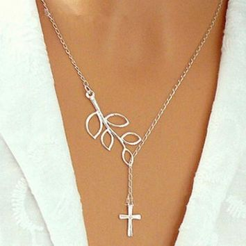 2016 new Fashion silver leaf cross pendant Necklace for women European and American silver simple bar necklace lowest price !!!