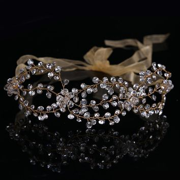 New Arrival Handmade Tiara Golden Bride Wedding Crystal Hairband Bridal Festival Party Hairwear Hair Accessory CY161117-119