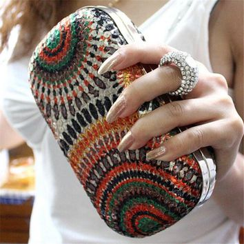 Women's Sequined and Rhinestone Clutch Knuckle Ring Evening Bag 5 Colors