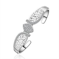 MLOVES Women's Leaf Markings Fake Joining Silver Bracelet