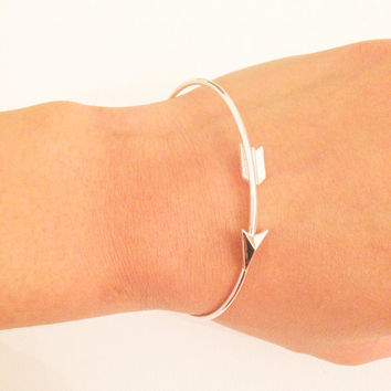 Arrow Bangle, Silver Arrow Bangle, Minimalist Boho Bangle, bangle, Silver Bangle