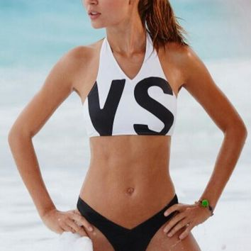 "Victoria's Secret ""VS"" Fashion Ladies Halter Letter Print Summer Two Piece Bikini Swimsuit White"