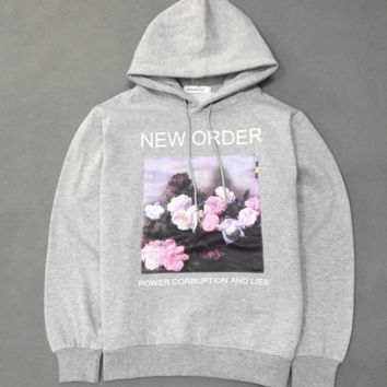 BIGBANG new fashion long slevee print rose hooded Couples with top