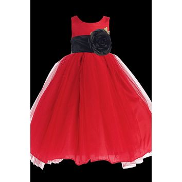 Red Polysilk Flower Girl Dress w. Ballerina Tulle Skirt & Custom Sash 6M-12Y