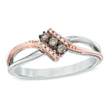 1/10 CT. T.W. Champagne and White Diamond Three Stone Bypass Ring in Sterling Silver and 10K Rose Gold - Size 7