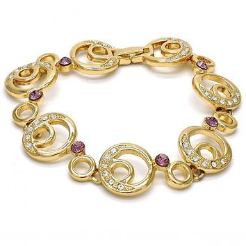 Gold Layered 03.59.0070.08 Fancy Bracelet, Moon Design, with White and Amethyst Crystal, Polished Finish, Golden Tone