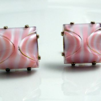 Vintage Hickok Pink and White Swirl Art Glass Cufflinks