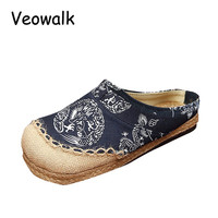 Veowalk Thai Totem Embroidered Women Black Linen Cotton Slippers Ladies Flat Slides Summer Canvas Sandal Shoes Plus Size 35-44
