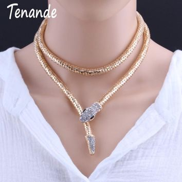 Tenande Jewelry Joias Steampunk Snake Head Necklaces For Women Hyperbole Gold Color Snake Chain Necklaces & Pendants Colar Mujer