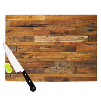 "Susan Sanders ""Woodstock"" Brown Tan Cutting Board"