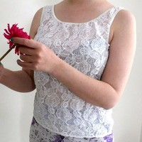 White Tank Top, Sleeveless Shirt, Vintage Semi-sheer blouse, Floral Lace Top  size M, Summer Ladies top, by Marks and Spencer Made in UK