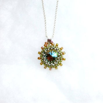 Amber and Verdigris Beaded Rivoli Necklace by Hieropice on Etsy