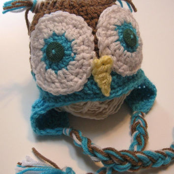 Newborn crochet owl ear flap hat.  Ready to ship.  Turquoise and brown.  Newborn Photo prop.
