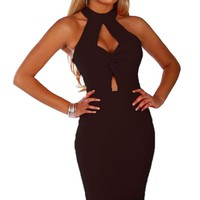 Black Twist Front Bodycon Midi Dress