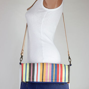 Colorful Striped Canvas Blue Leather Foldover Bag  Adjustable Removable Vegetable Leather Strap Leather Tote Bag Clutch Foldover Crossbody