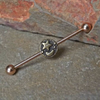 Moon and Star Rose Gold Industrial Barbell 14ga Body Jewelry Ear Jewelry Double Piercing