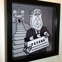 Alfred Hitchcock Pyscho Movie Art 3D Pop Scary Horror by PopsicArt