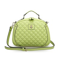 Leather Quilted Cross Body Bag wth Short Grab Handle Tote Bag