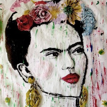 Frida Kahlo T Shirt Painted Frida ART TO WEAR Camiseta Pintada Mexico Shirt Original Frida Portrait