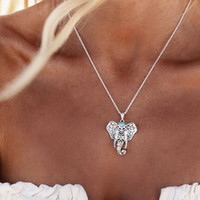 Boho Pendant Elephant Choker Necklace