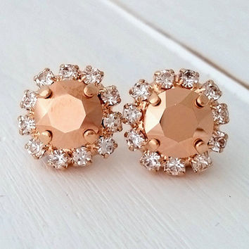 Rose gold earrings,Rose gold stud earrings,Rose gold bridesmaid earrings,Swarovski stud earrings,Crystal earrings, Rose gold bridal earrings