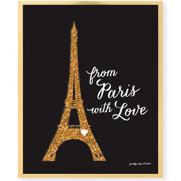 From Paris With Love Art Print - Paris - Eiffel Tower - France - Parisian Style - French - Metro - Vintage Postcard