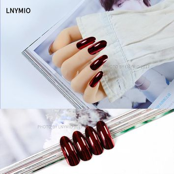 24Pcs Fashion metal fake nails long dark red metallic press on tips
