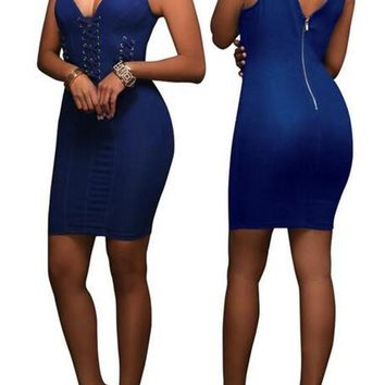 New Women Dark Blue Plain Cut Out Zipper Backless Sleeveless Bodycon Denim Mini Dress