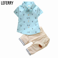 1-6Y 2017 New Fashion Kids Clothes Boys Summer Set Print Shirt Short Pants Baby Boy Clothing Set Toddler Boy Summer Clothes Set