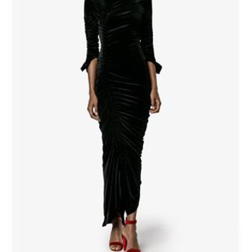 PREEN BY THORNTON BREGAZZI | Hitch Ruched Velvet Dress | Womenswear | Browns Fashion