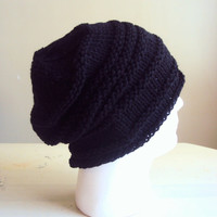 Father's Day Gift MENS SLOUCHY BEANIE Knit Celebrity Hat Black Slouchy Hat Winter Hat Beret Men Gift Ideas Under 50