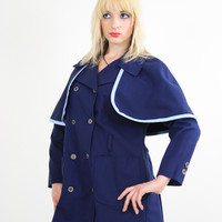 Vintage 60s Mod Navy Blue Double Breasted Capelet Coat