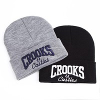 Crooks and Castles Winter Hats For Men's Brand Skullies Beanies Female Women's Winter Knitted Hat Warm Women Hat Cap Unisex