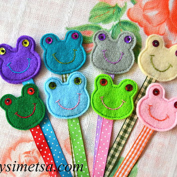 Felt Frog Bookmark, Handmade Frog Bookmarks, Colorful Embroidery Bookmark, Book Lovers Gift, Reading Mark